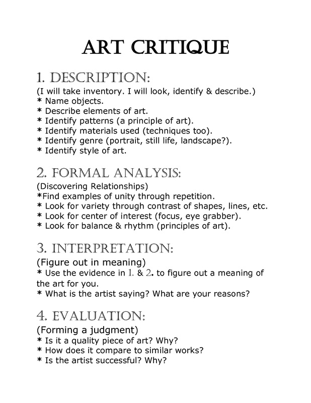 a good critique essay Review: an essay or article that gives a critical evaluation examples of writing a critique - criticizing photographs: good and bad play an important role in the feast: good is rewarded, bad and evil is punished.